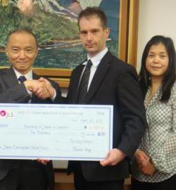 Ambassabor Receives Cheque from OJLS
